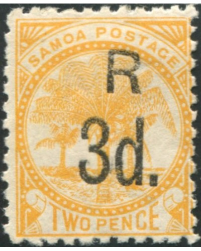 Samoa 1895 SG79 3d on 2d orange-yellow Palm Tree MH