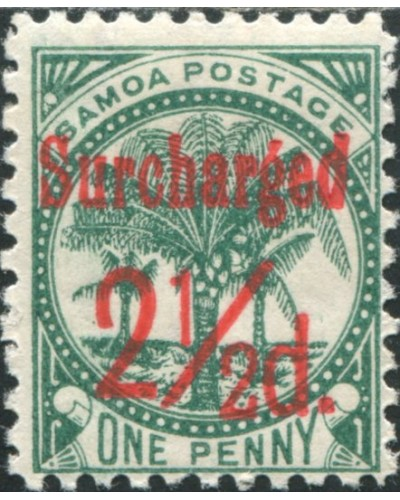 Samoa 1898 SG84 Surcharged 2½d. on 1d bluish green Palm Tree MLH