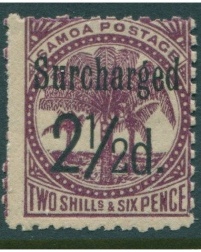 Samoa 1898 SG87 Surcharged 2½d. on 2/6d deep purple Palm Trees MH