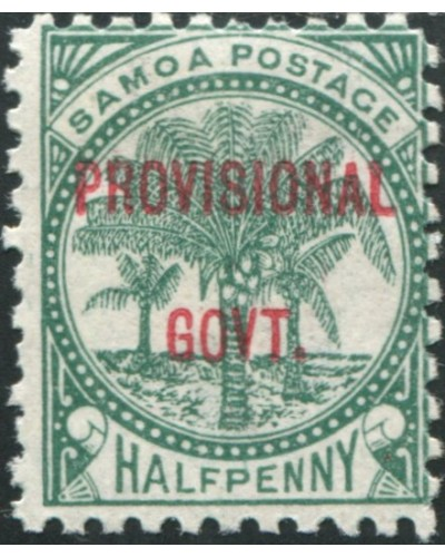 Samoa 1899 SG90 ½d dull blue-green Palm Tree PROVISIONAL GOVT. ovpt MH