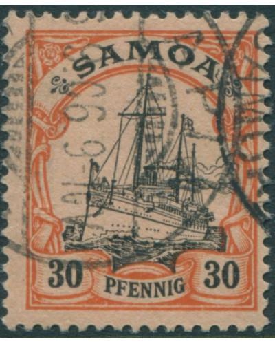 Samoa 1900 SGG12 30pf black and orange/buff Yacht FU