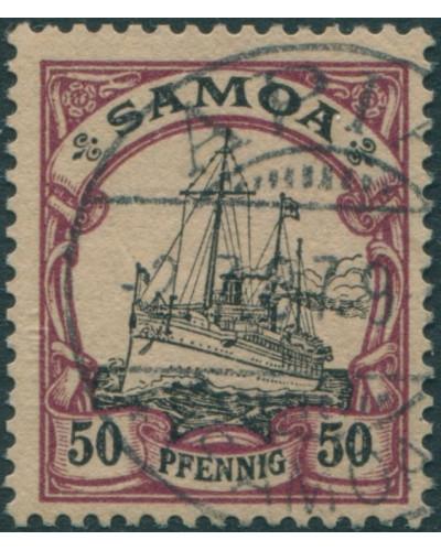 Samoa 1900 SGG14 50pf black and purple/buff Yacht FU