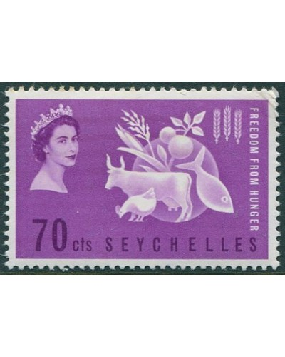 Seychelles 1963 SG213 70c violet Freedom from Hunger MNH
