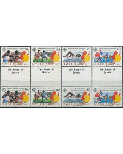 Seychelles 1985 SG619-622 Island Games gutter pairs set MNH