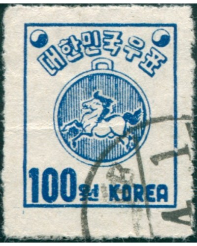 Korea South 1951 SG143a 100w blue Post-horse Warrant, roulette FU