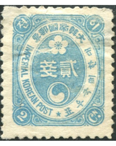 Korea Empire 1900 SG25B 2ch blue, thin on Front MH