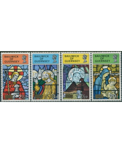 Guernsey 1973 SG89-92 Christmas stained glass windows set MNH