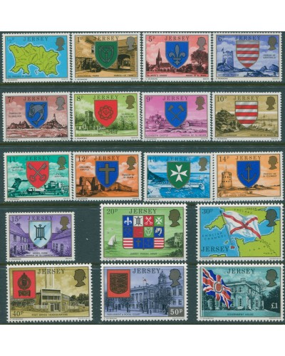 Jersey 1976 SG137-154 Island Scenes and Parish Arms MNH