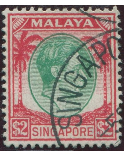 Singapore 1948 SG14 $2 green and red Palms KGVI FU