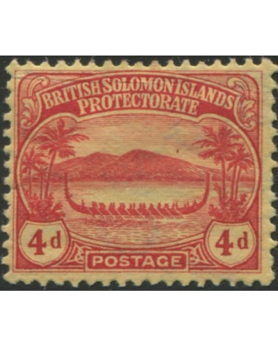 Solomon Islands 1908 SG11a 4d red/yellow Canoe MNH