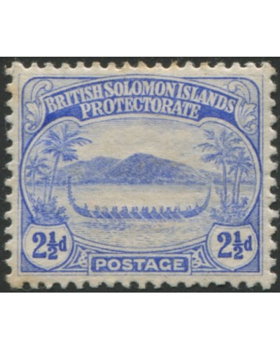 Solomon Islands 1908 SG11 2½d ultramarine Canoe toned back MLH