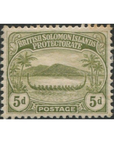 Solomon Islands 1908 SG12 5d olive Canoe MLH