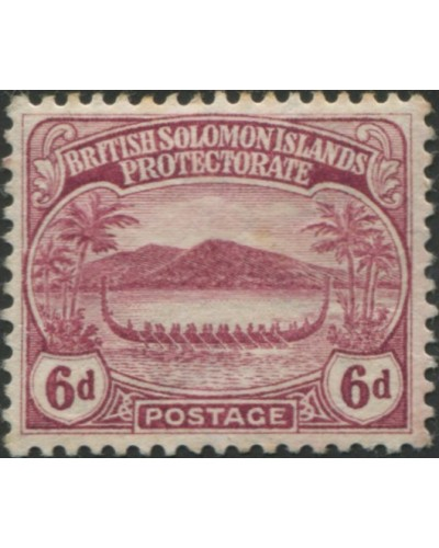 Solomon Islands 1908 SG13 6d claret Canoe MLH
