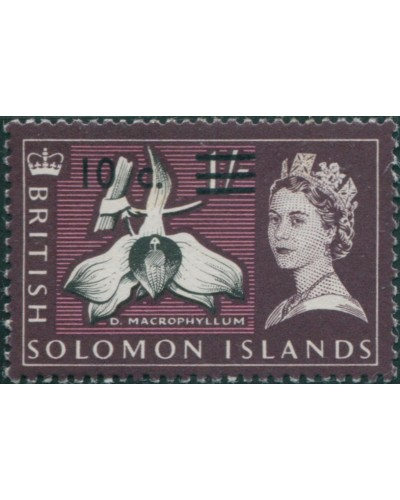 Solomon Islands 1966 SG143 10c on 1/- Orchid MLH