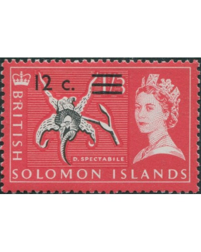 Solomon Islands 1966 SG144 12c on 1/3 Orchid MLH
