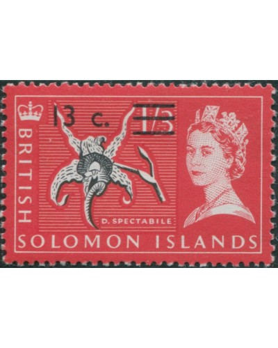 Solomon Islands 1966 SG145 13c on 1/3 Orchid MLH