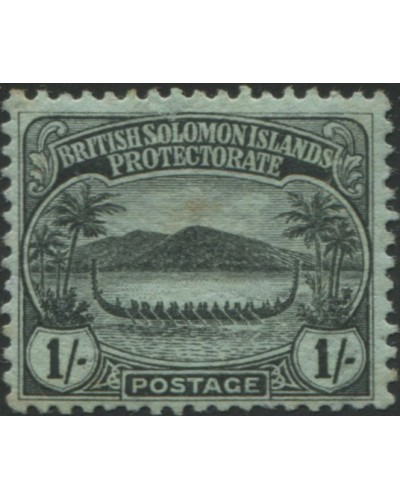Solomon Islands 1908 SG14 1/- black/green Canoe toned back MLH