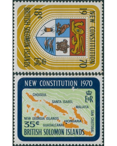 Solomon Islands 1970 SG195-196 New Constitution set MLH