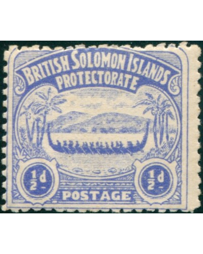 Solomon Islands 1907 SG1 ½d ultramarine Canoe MLH