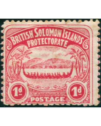 Solomon Islands 1907 SG2 1d rose-carmine Canoe MLH