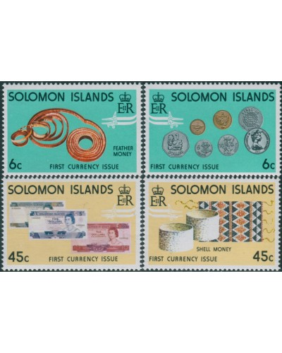 Solomon Islands 1977 SG349-352 Coins and Banknotes set MNH