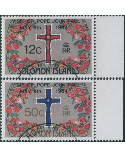 Solomon Islands 1984 SG517-518 Pope Visit set FU