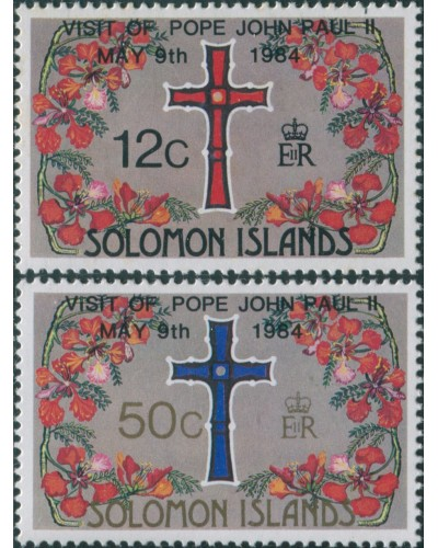 Solomon Islands 1984 SG517-518 Pope Visit set MNH