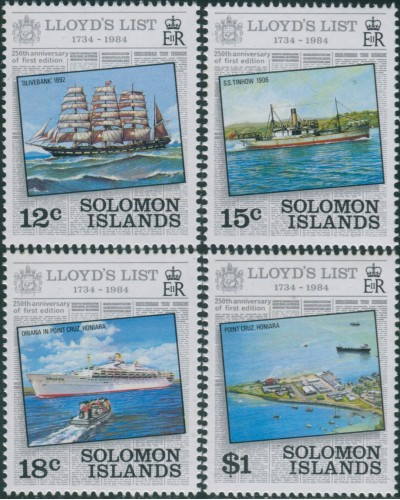 Solomon Islands 1984 SG519-522 LLoyd's List set MNH