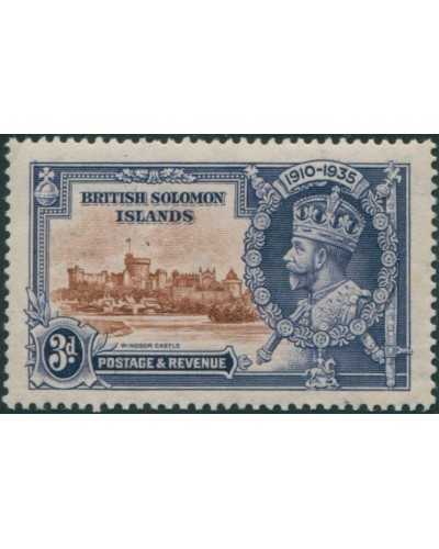 Solomon Islands 1935 SG54 3d brown and deep blue Silver Jubilee KGV MLH