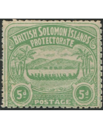 Solomon Islands 1907 SG5 5d emerald-green Canoe MLH