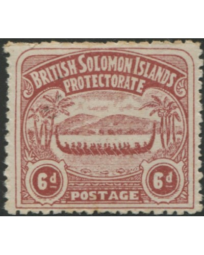 Solomon Islands 1907 SG6 6d chocolate Canoe MLH