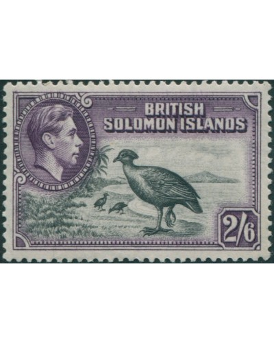 Solomon Islands 1939 SG70 2/6 Bismark Scrub Fowl toned back MLH