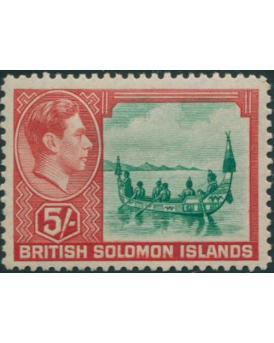 Solomon Islands 1939 SG71 5/- Maliata Canoe MLH