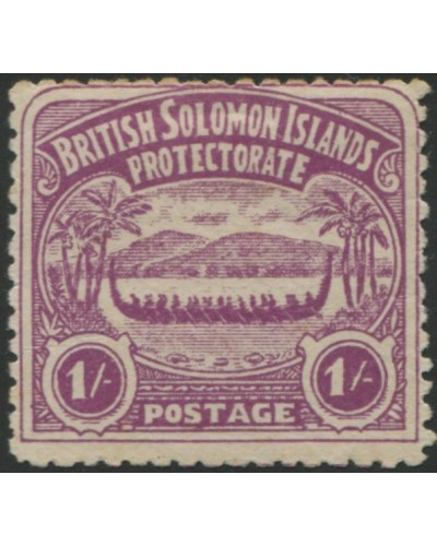 Solomon Islands 1907 SG7 1/- bright purple Canoe MLH