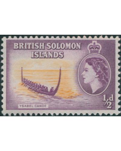 Solomon Islands 1956 SG82 ½d Ysabel Canoe MLH