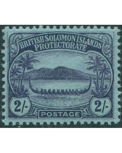 Solomon Islands 1908 SG15 2/- purple/blue Canoe MH