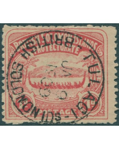 Solomon Islands 1907 SG2 1d rose-carmine Canoe FU