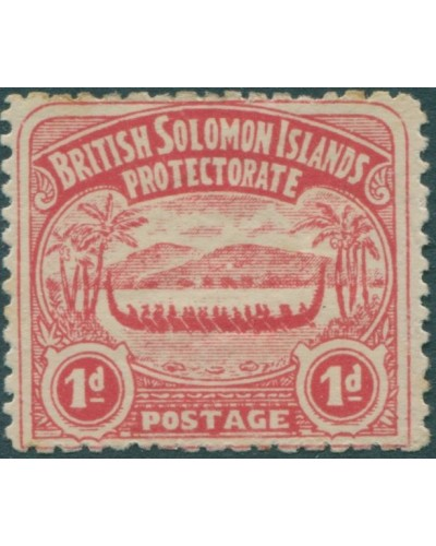 Solomon Islands 1907 SG2 1d rose-carmine Canoe MH