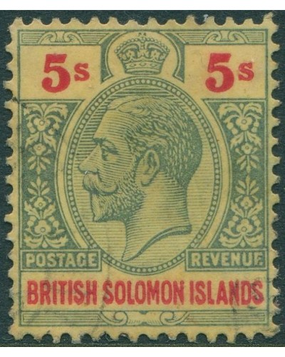 Solomon Islands 1914 SG36 5/- green and red/yellow KGV MH