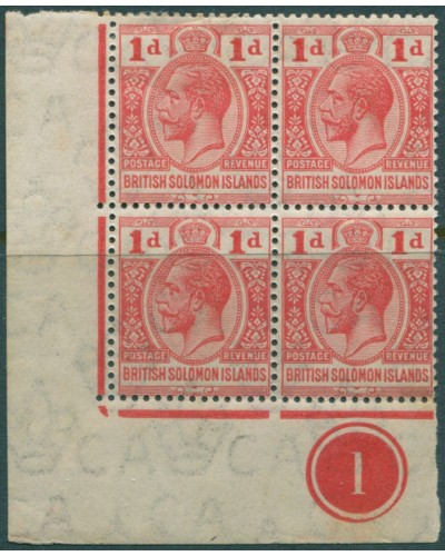 Solomon Islands 1914 SG24 1d carmine-red KGV corner block toned back MH
