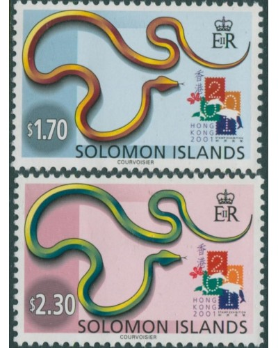 Solomon Islands 2001 SG988-989 Stamp Exhibition Hong Kong set MNH