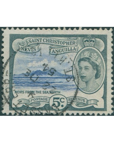 St Kitts-Nevis 1954 SG111 5c Nevis from the sea QEII FU