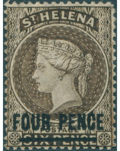 St Helena 1861 SG43c 4d on 6d brown QV MH