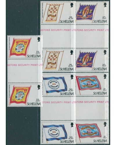 St Helena 1986 SG472-476 Friendly Society Banners gutter pairs set MNH