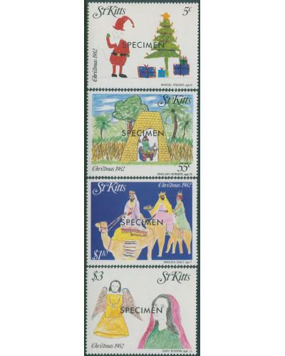 St Kitts 1982 SG104-107 Christmas SPECIMEN set MNH