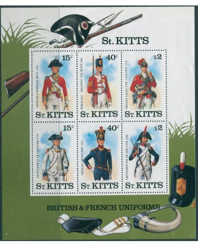 St Kitts 1987 SG226 Military Uniforms MS MNH