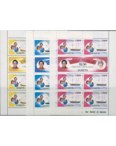 St Kitts 1981 SG75-80 Royal Wedding sheets set MNH