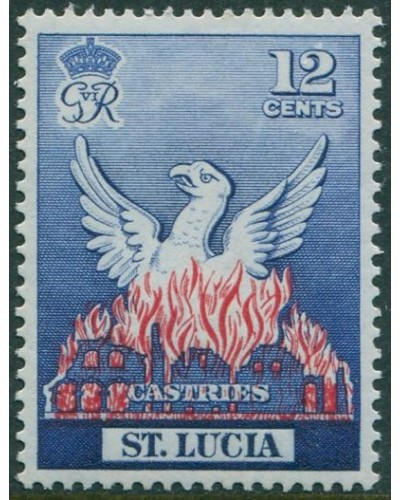 St Lucia 1951 SG166 12c red and blue Castries MNH