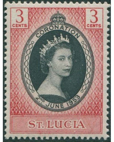 St Lucia 1953 SG171 3c black and red Coronation QEII MNH