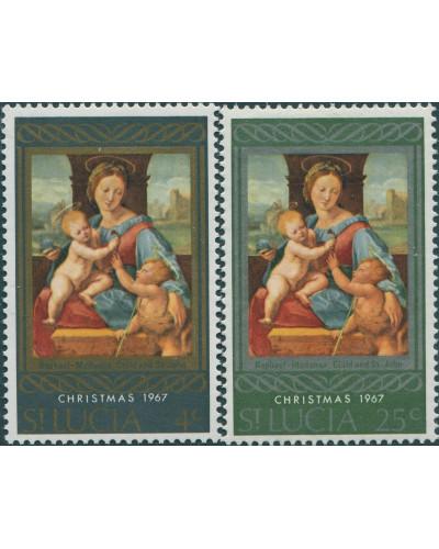 St Lucia 1967 SG241-242 Christmas set MLH